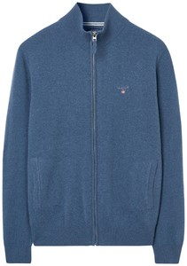 Gant Superfijn Lamswol Zipper Vest Vest Stone Blue Melange
