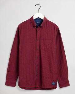 Gant Tech Prep Herringbone Solid Overhemd Mahonie Rood