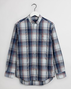 Gant Tech Prep Washed Indigo Check Button Down Overhemd Zand
