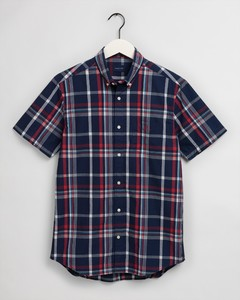 Gant Tech Prep Washed Indigo Check Short Sleeve Overhemd Pacific Blue