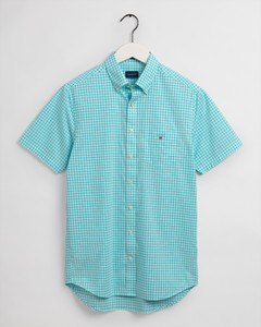 Gant The Broadcloth Gingham Short Sleeve Overhemd Aqua Sky
