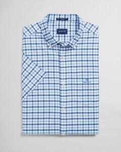 Gant The Oxford 2 Color Gingham Short Sleeve Overhemd Capri Blue