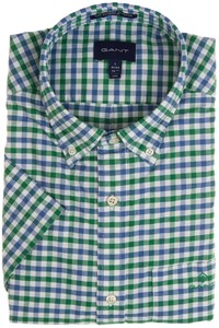 Gant The Oxford 2 Color Gingham Short Sleeve Overhemd Kelly Green