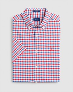 Gant The Oxford 2 Color Gingham Short Sleeve Shirt Bright Red