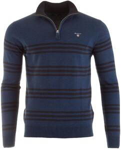Gant Tri-Stripe Half Zip Trui Blue Melange
