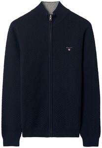 Gant Triangle Texture Fullzip Cardigan Evening Blue