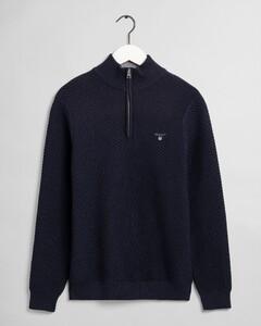 Gant Triangle Texture Uni Half Zip Trui Avond Blauw