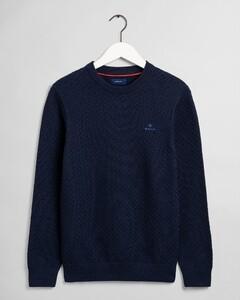 Gant Uni Cotton Texture Crew Pullover Marine
