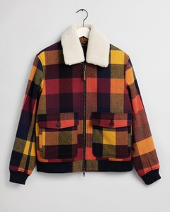 Gant Wool Check Flight Jacket Jack Port Red