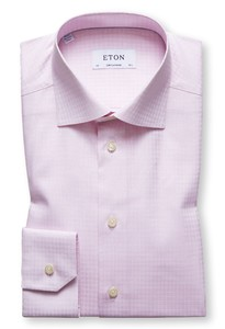 Eton Fine Twill Woven Polka Dot Warm Roze