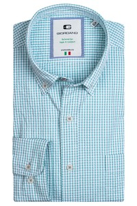 Giordano Bologna Button Down Seersucker Vichi Check Overhemd Groen
