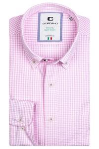 Giordano Bologna Button Down Seersucker Vichi Check Overhemd Licht Roze