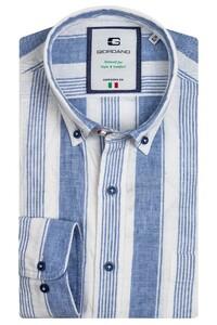 Giordano Bologna Striped Fancy Denim Look Overhemd Licht Blauw