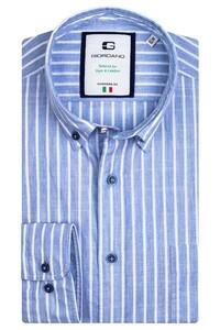 Giordano Bologna Washed Chambray Stripe Overhemd Licht Blauw