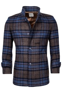 Giordano Brian Wool Mix Check Doubleface Coat Brown-Blue-Cognac