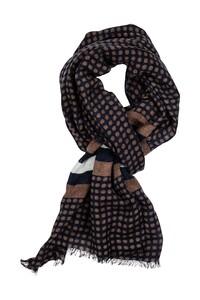 Giordano Dot With Border Pure Wool Sjaal Bruin-Navy