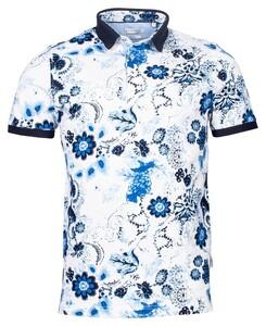 Giordano Fabio Floral Pique Poloshirt White-Navy