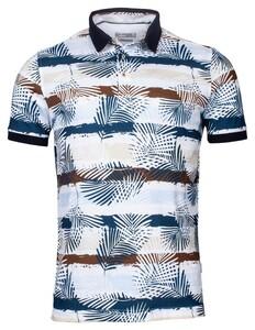 Giordano Fabio Pique Leave Stripe Fantasy Poloshirt Brown-Navy