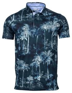 Giordano Fabio Pique Palmtrees Poloshirt Dark Navy-Blue