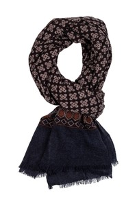 Giordano Fantasy Pattern With Border Wool Mix Sjaal Brown-Navy-Sand