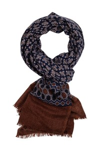 Giordano Fantasy Pattern With Border Wool Mix Sjaal Navy-Brown-Sand