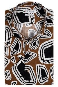 Giordano Front African Fantasy Shirt Dark Brown Melange