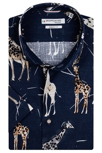 Giordano Front Cutaway Giraffe Shirt Dark Navy