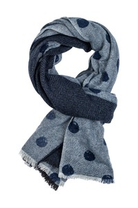 Giordano Herringbone Dot Wool Mix Sjaal Blauw-Navy