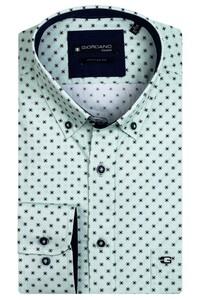 Giordano Kennedy Fancy Pattern Overhemd Donker Groen