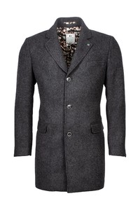 Giordano Long Coat Wool Mix Solid Doubleface Coat Anthra