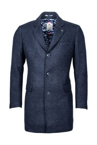 Giordano Long Coat Wool Mix Solid Doubleface Jas Blauw
