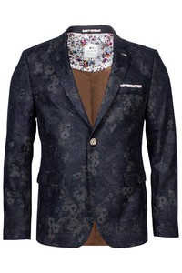 Giordano Robert Wool Mix Floral Colbert Navy-Taupe