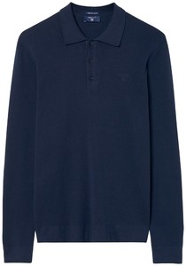Gant American Pima Cotton Long Sleeve Polo Navy