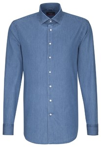 Seidensticker Faux Uni Contrast Button Pastel Blauw