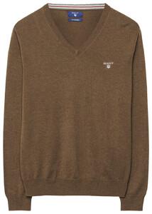 Gant Cotton Wool V-Neck Dark Hazelnut Melange