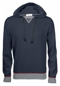 Gran Sasso Cashmere Wool Blend Contrast Edges Trui Blue Navy