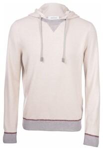 Gran Sasso Cashmere Wool Blend Contrast Edges Trui Crème