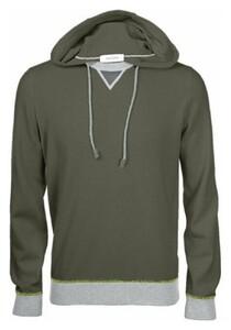 Gran Sasso Cashmere Wool Blend Contrast Edges Trui Groen