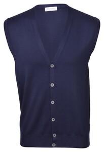 Gran Sasso Cotton 6-Button Waistcoat Gilet Blue Navy