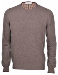 Gran Sasso Crew Neck Cashmere Blend Tweed Elbow Patch Details Trui Bruin