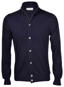 Gran Sasso Extrafine Merino Full Button Vest Navy