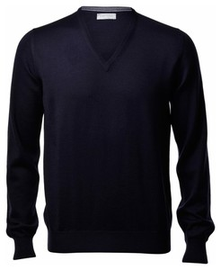Gran Sasso Extrafine Merino V-Hals Fashion Trui Blue Navy