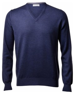 Gran Sasso Extrafine Merino V-Hals Fashion Trui Denim Blue