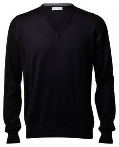 Gran Sasso Extrafine Merino V-Neck Fashion Pullover Black