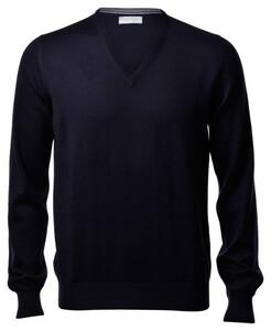 Gran Sasso Extrafine Merino V-Neck Fashion Pullover Blue Navy