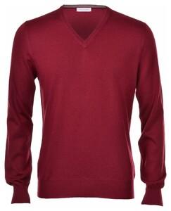 Gran Sasso Extrafine Merino V-Neck Fashion Pullover Burgundy Red