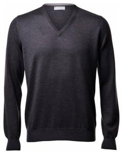 Gran Sasso Extrafine Merino V-Neck Fashion Pullover Charcoal