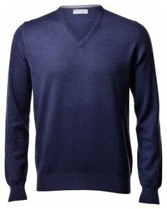 Gran Sasso Extrafine Merino V-Neck Fashion Pullover Denim Blue