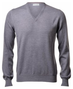 Gran Sasso Extrafine Merino V-Neck Fashion Pullover Grey