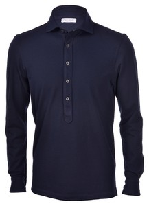 Gran Sasso Five-Button Piqué Polo Polo Blue Navy